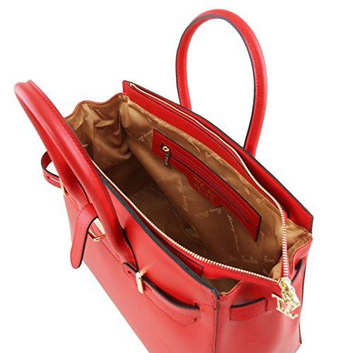 Tuscany Leather Elettra - Sac à main pour femme en cuir Ruga avec finitions couleur or Jaune Sacs à main en cuir Taupe clair