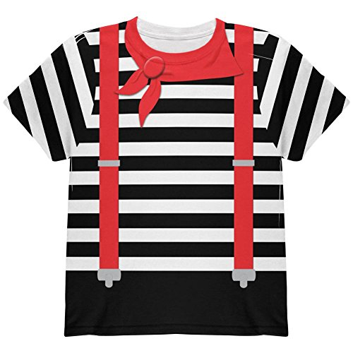 Halloween Französisch Mime-Kostüm auf der Ganzen Jugend T Shirt Multi YSM