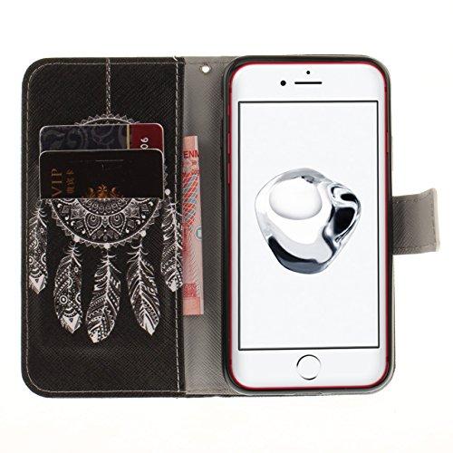 iPhone 8 Plus Lederhülle, iPhone 7 Plus Ledertasche,Vandot Abnehmbare Magnet Flip Case Ledertasche Schutzhülle für iPhone 8 Plus/iPhone 7+ Plus Detachable Leder Huelle Stand Halter Magnetverschluss Kr Schwarz Traumfänger