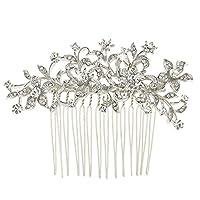 EVER FAITHŽ Austrian Crystal Flower Leaf Art Deco Wedding Hair Comb N03785-1