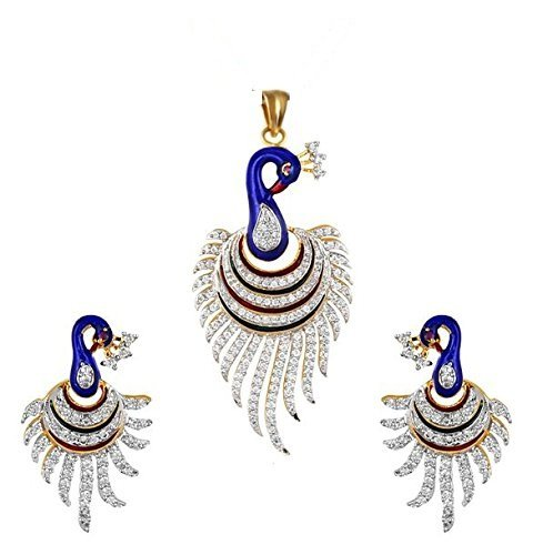 M Creation Gold Plated Cz Small Peacock Pendant With Earring Set For Women