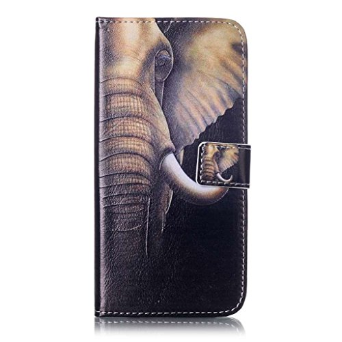 Uming® Il modello della stampa della custodia per armi variopinta della copertura Holster Cover Case ( Black lips - per IPhone 7 7G IPhone7G IPhone7 ) Flip-artificiale in pelle con staffa supporto del Elephant with big ears