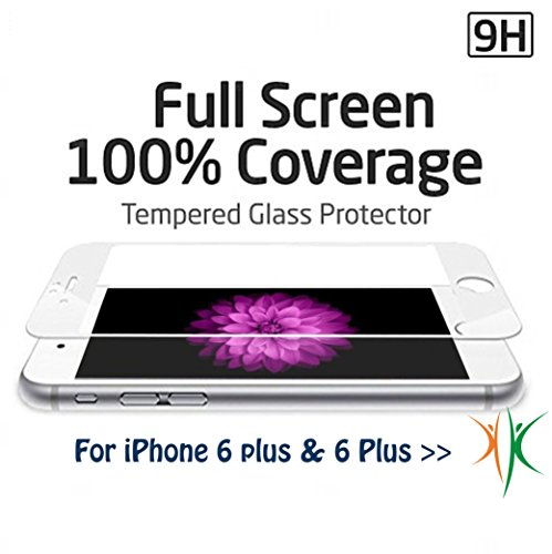Film de protection pour iPhone 6 Plus, 3D Touch de compatible, protège toute la surface en verre trempé premium pour Apple iPhone 6 et iPhone 6 Plus Weiß