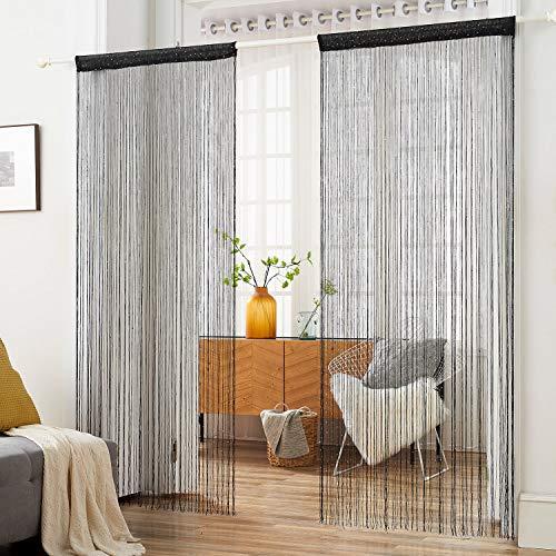 HSYLYM Fadenvorhang mit Pailletten, glitzernd, Polyester, perfekt für Raumdekoration und Hintergrund, 90 x 200 cm, Polyester, Schwarz, 90x200cm(35x78inch)