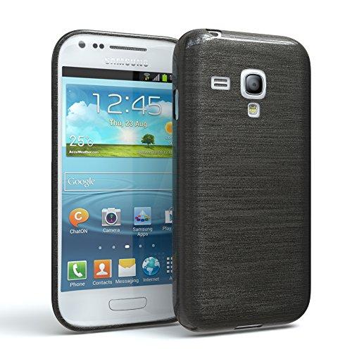 EAZY CASE Hülle für Samsung Galaxy S3 Mini Schutzhülle Silikon, gebürstet, Slimcover in Edelstahl Optik, Handyhülle, TPU Hülle/Soft Case, Backcover, Silikonhülle Brushed, Anthrazit
