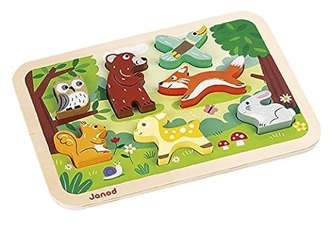 Janod - J07023 - Chunky Puzzle Bois Forêt 7 pcs