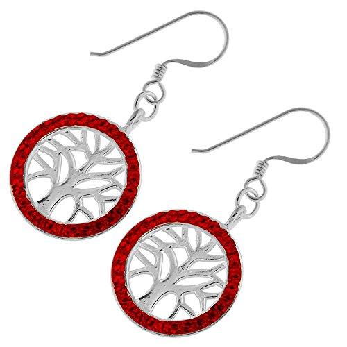 Roter Multi Kristall Stein Baum des Lebens im runden Rahmen 925 Sterling Silber Fisch Haken Ohrring (Fisch-rahmen)
