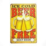 Tin Sign Kühles Bier freier Mann Höhle Handwerk Pub Decals Handwerk Vintage Metall Wand Retro-Stil Poster Malerei Plaketten Kunst Pub BBQ Beer Bar Alkohol Wein Pinup Garage Tankstelle USA Benzin