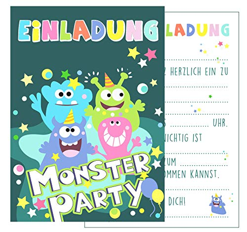 2 Einladungskarten Geburtstag Monsterparty Halloween Party ()