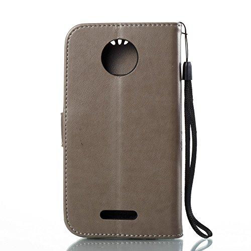 EKINHUI Case Cover Solid Color Faux Leder Bookstyle Brieftasche Stand Case mit geprägten Blumen & Lanyard & Card Slots für MOTO C Plus ( Color : Red ) Gray