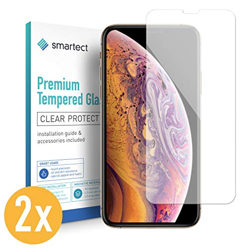 smartect Panzerglas kompatibel mit iPhone XS [2 Stück] - Displayschutz mit 9H Härte - Blasenfreie Schutzfolie - Anti Fingerprint Panzerglasfolie