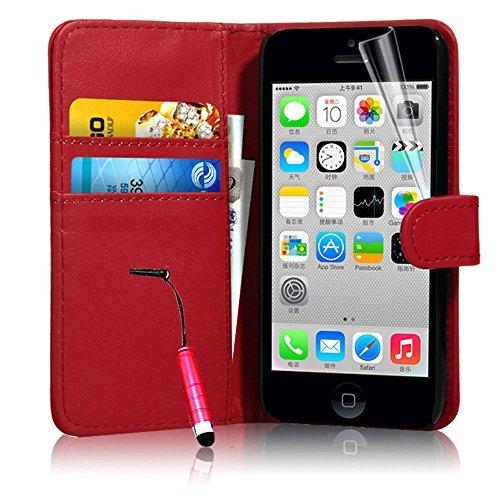 Connect Zone iPhone 5/5G/5S/SE haute qualité PU étui rabat portefeuille cuir Pochette + Protège Écran + Chiffon De Polissage Et Stylet - Portefeuille Rouge A Clapet, iPhone 5/5G/5S/SE