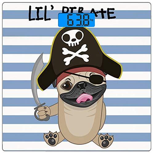 Ein Einer Von Piraten Art Kostüm - Digitale Präzisionswaage für das Körpergewicht Platz Pirat Ultra dünne ausgeglichenes Glas-Badezimmerwaage-genaue Gewichts-Maße,Freibeuter-Hund im Karikatur-Art-Kostüm, das Klinge Lil Pirate Striped B