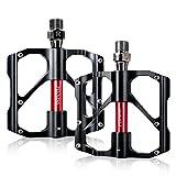Pedali,Beautystar Pedale da Ciclismo in Alluminio Ultra Leggero Antiscivolo con tre cuscinetti Per MTB, Road Bicycle, BMX (Nero)