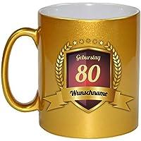 Glückwünsche zum 80. Geburtstag Kaffeebecher Gold Personalisierte Geschenkidee Jubiläum