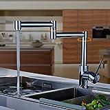 Aruhe® Cocina del Grifo de la Ducha Mezclador Grifos para Fregadero de la Cocina 360°Rotación Sola Manija Solo Agujero Grifo de la Cocina , Cromo