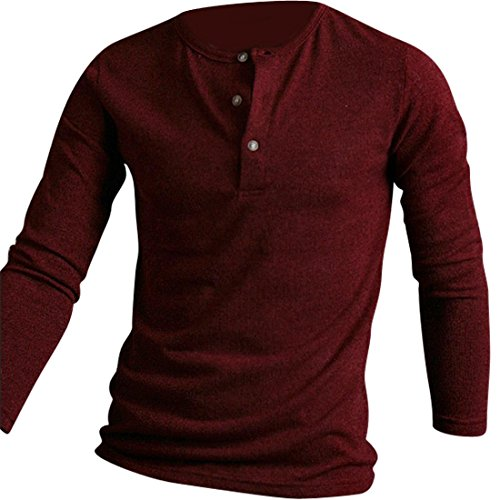 Jeansian Hommes Robe Tendance Mode Pull Chemise Men Casual Slim Fit Sweater 8898 WineRed