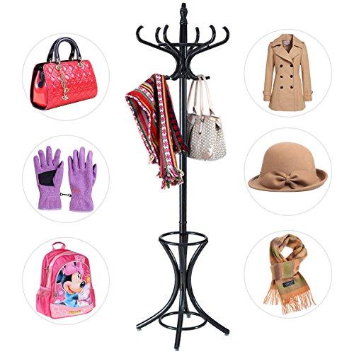 garderobe mit schirmstaender COSTWAY Garderobenständer Kleiderständer Jackenständer mit Schirmständer Garderobe Aufhänger 12 Kleiderhaken 184 cm Farbewahl Holz (schwarz)