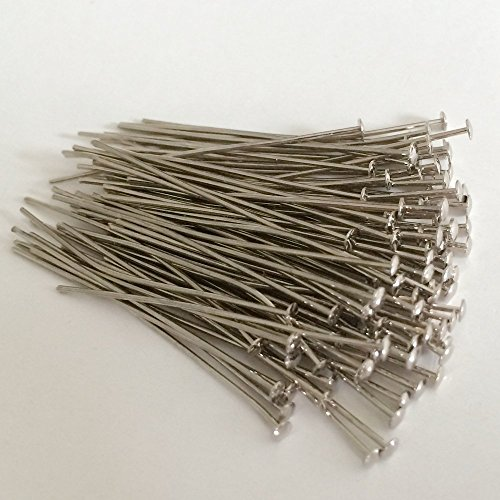 Prismenstifte 0,8 x 45mm Chrom 100 Stück Großkopf 2,8mm - Kettelstifte - Nietstifte - Schmuckstifte - Bastelbedarf - Haken für Kristalle
