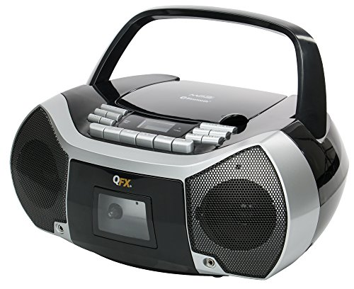 QFX Quantum FX Portable Boombox with Bluetooth, AM/FM Radio, CD/MP3 Player, Cassette Recorder and Headphone Jack