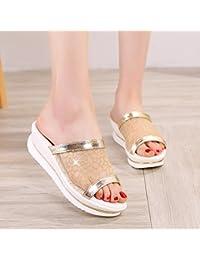 Mhgao nuove pantofole da donna casual sandali, con la suola interna in lino tiro casa pantofole, rose red, S