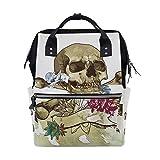 Alinlo Wickeltasche mit Totenkopf-Design, mit großem Fassungsvermögen, multifunktionaler Kinderwagen-Gurte, Mumien-Tasche, für Reisen und Babypflege