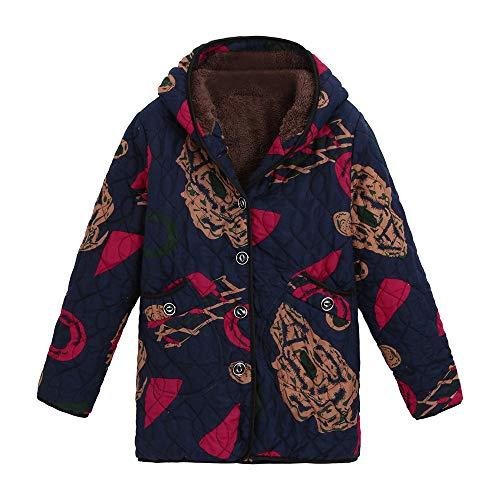 Luckycat Damen Winter Warm Outwear Blumendruck Mit Kapuze Taschen Vintage Oversize Mäntel Jacken Mäntel Sweatjacke Winterjacke Fleecejacke Steppjacke