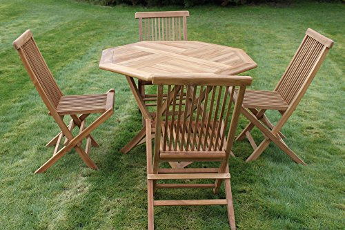 Olive Grove Solid Teak Octagonal Garden Dining Table and 4 Folding Chairs-REDUCED