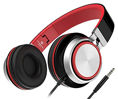 Sound Intone Ms200 2015 New Stereo Foldable Headphones, Over-ear, Tangle free Cable, Light Weight, Outdoors Headset for Smartphones/ Mp3/4 Players/ Laptops/ Computers/ Tablet/ iPhone/ Samsung/ iPod/ Andriod/ HTC (Black/Red) by Sound Intone