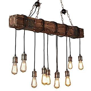 Pendelleuchte Holz Höhenverstellbar Kronleuchter Schwarz Hängelampe Vintage Hängeleuchte Industrial Retro Metall für E27 Leuchtmittel Pendellampe geeignet für Wohzimmer Esstisch Küche Wohnzimmer