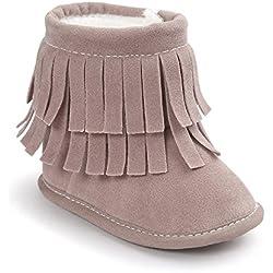 ESTAMICO Stivali da neve con nappe morbidi e caldi invernali per bambina,Rosa Chiaro 6-12 Mesi