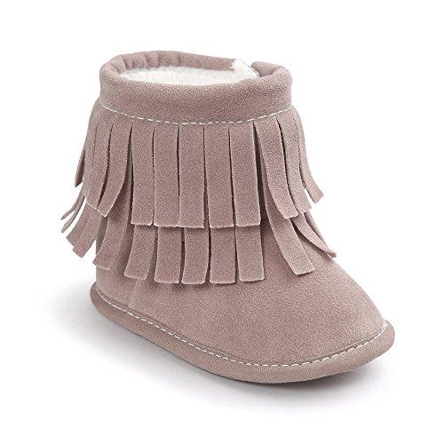 aby Jungen Mädchen Winter Warme Weiche Sohle Quaste Schnee Stiefel Mokassins Schuhe Hell Lila 3-6 Monate (Lila Cowboy Stiefel)