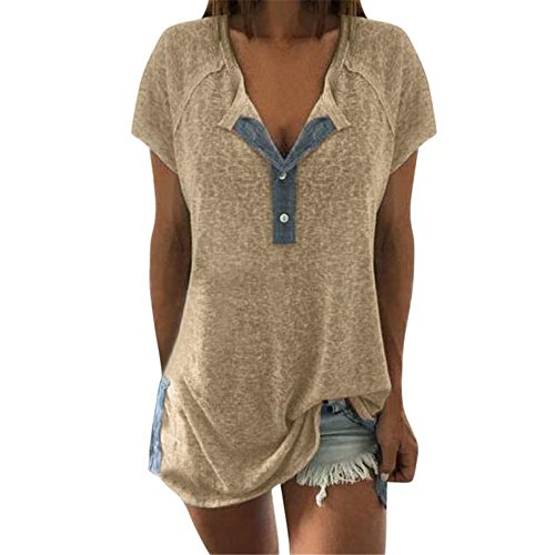 TITIU Damen Lose Patchwork Casual Knopf Kurzarm Bluse Oberteil Tees T-Shirt Tops(Beige,EU-50/CN-4XL)