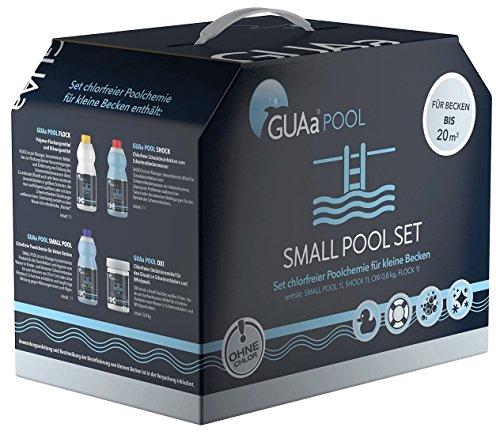 GUAa Pool chlorfreie Poolchemie für Schwimmbecken bis 20m³ - Starterset Poolpflege Ohne Chlor inkl. Algenschutz Small Pool Set