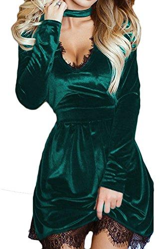 Le Donne Solido Caldo A Maniche Lunghe Scollo A V Top Lace Mosaico Tunica Vestito Di Velluto Green