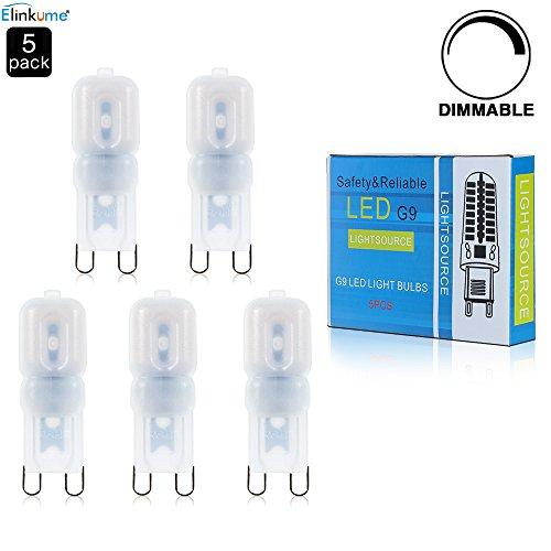 G9 LED Lampe Birne - ELINKUME® 5x Dimmbar G9 LED Leuchtmittel 3W 220LM [Ersetzt 25W Halogen, AC220-240V, Warmweiß, 360° Abstrahlwinkel]