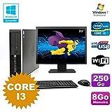 Pack PC HP Compaq 6200 Pro SFF Core i3 3.1GHz 8gb 250GB DVD WIFI W7 + Bildschirm 22