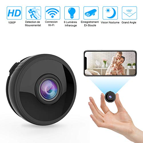 Mini Camera Espion WiFi, Full HD 1080P Caméra Cachée Spy sans Fil avec Vision Nocturne et Détection de...