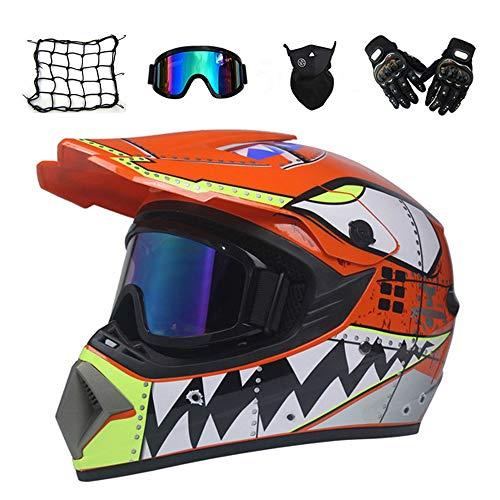 MRDEAR Squalo - Arancione - Casco Motocross, Casco da Cross Kit con Occhiali, Guanti, Face Mask, Rete Elastica Moto, Casco da Moto Bambino Caschi Moto Offroad Enduro Downhill Sport,S