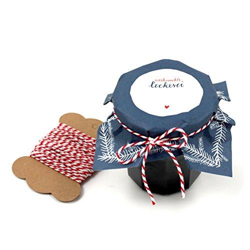 25 Marmeladendeckchen Blau als Abreißblock, weihnachtliche Gläserdeckchen zum selbst beschriften für Eingemachtes, selbstgemachte Marmelade & Weihnachtsgeschenke, Recyclingpapier + 10 m Schnur & Justiergummi