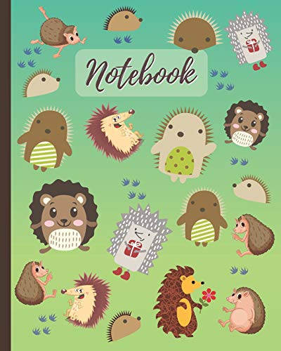 Notebook: Cute Hedgehogs Cartoon Cover - Lined Notebook, Diary, Track, Log & Journal - Gift for Boys Girls Teens Men Women Who Love Hedgehog (8