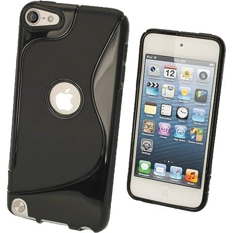 igadgitz S Line Negro TPU Gel Funda Carcasa para Apple iPod Touch 6G 6th Generación (Julio 2015) & 5G 5th Generación (2012-2015) Case Cover + Protector de pantalla