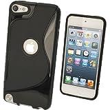 igadgitz Schwarz S Line Gel Tasche TPU Schutzhülle Etui für Apple iPod Touch 6. Generation (Juli 2015) & 5. Generation (2012-2015) Case Cover + Displayschutzfolie