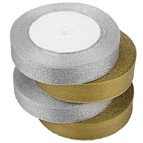 McFanBe 2 Farben Satin Ribbon 100 Yard 0,79 Zoll Breiten Stoff Ribbon für Geschenkpapier Nähen Hochzeit Machen Haarbögen Floral Projekte Handwerk (Gold + Silber) -