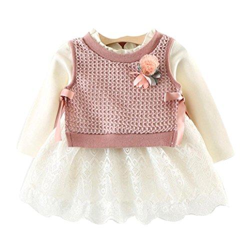 OverDose Kleinkind Baby Kind Mädchen Langarm Gestrickte Bogen Neugeborenen Tutu Prinzessin Kleid 0-24 Monate (0-6 Monate, B-B-Pink)
