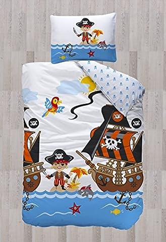 Aminata Kids – Bettwäsche 135x200 cm Kinder Jungen Pirat Baumwolle Reißverschluss Blau Rot Weiß Seeräuber Piratenschiff Kinderbettwäsche 2-teiliges Bettwäscheset Ganzjahres Bettbezug Wendebettwäsche