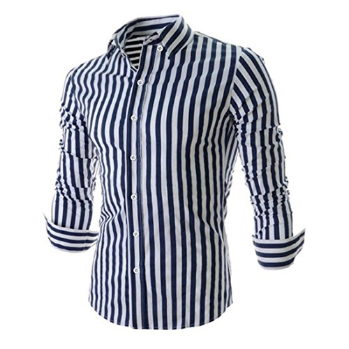 Men's Fashion Striped Turndown Collar Long Sleeve Slim Fit Shirts Dark Blue
