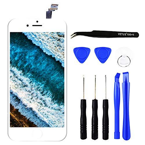 TPEKKA Display Ersatz für iPhone 6 LCD Touchscreen Display Bildschirm-Front Komplettes Glas Panel Digitizer Display mit Reparatur Set Werkzeuge für iPhone 6 Screen Weiß, 4.7 Zoll (Ersatz Iphone 6 Front-bildschirm)