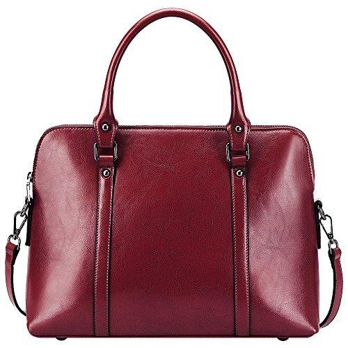 S-ZONE Frauen Echtes Leder Handtaschen Aktenkoffer Geldbörse Schultertaschen Taschenbeutel (Kuh-leder-beutel)