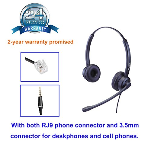 MAIRDI Telephone Headset for Call Centers Office with RJ9 for Avaya Nortel  Polyccom with 3 5mm Connector for Cell Phone Samsung iPhone Huawei
